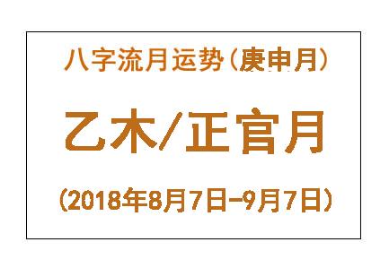 八字流月运势:庚申月乙木(2018年8月7日-9月7日)
